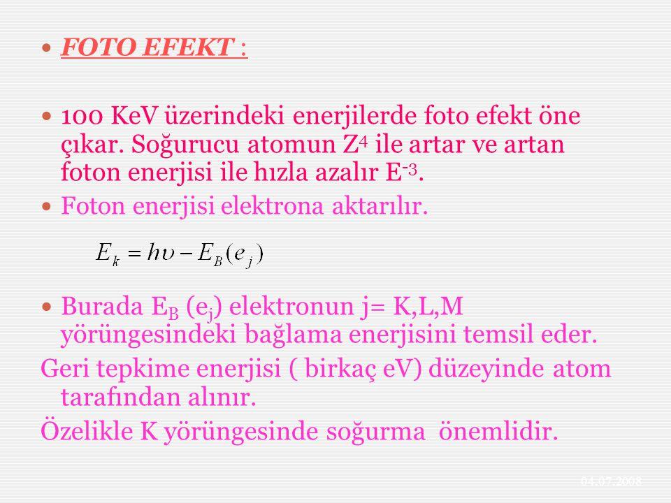 Geri tepkime enerjisi ( birkaç eV) düzeyinde atom tarafından alınır.