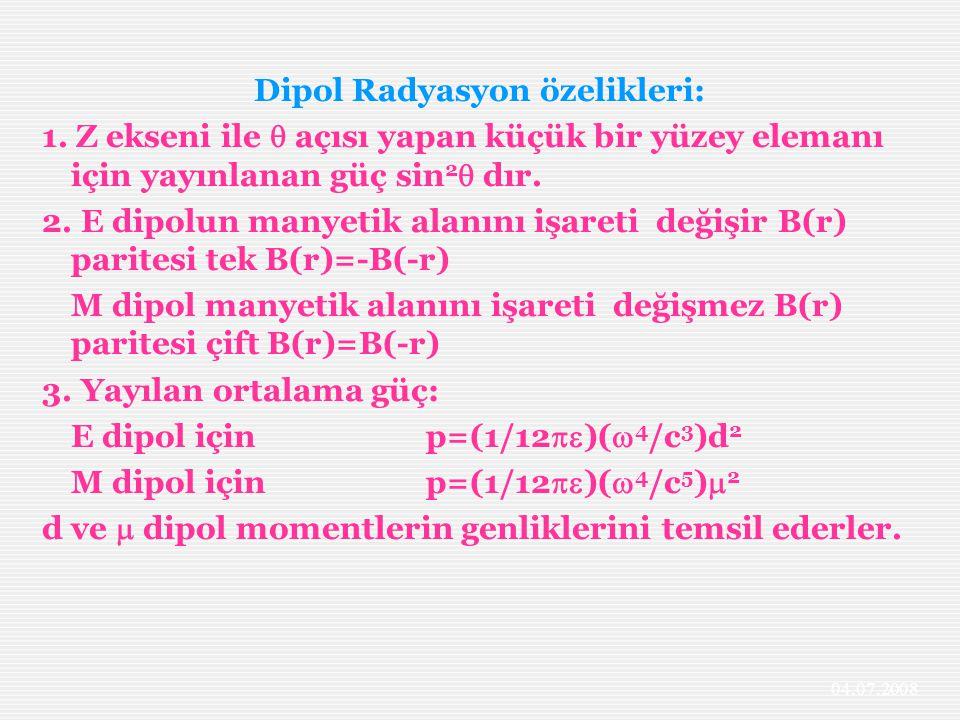 Dipol Radyasyon özelikleri: