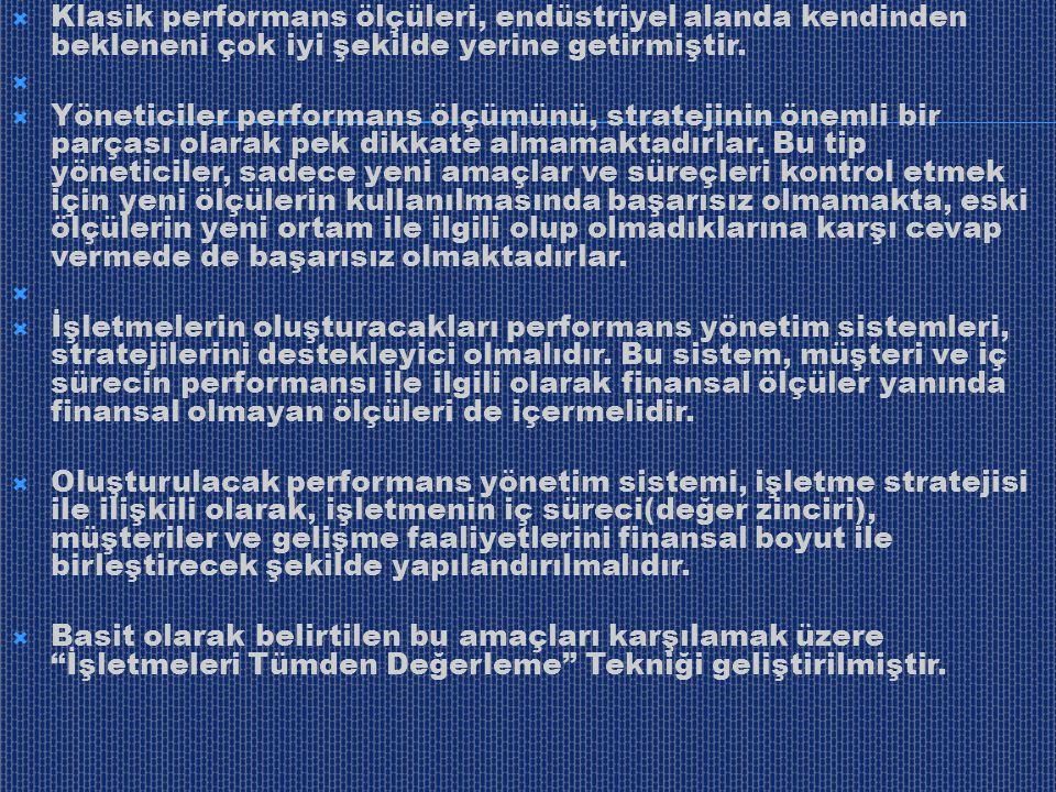 Klasik performans ölçüleri, endüstriyel alanda kendinden bekleneni çok iyi şekilde yerine getirmiştir.