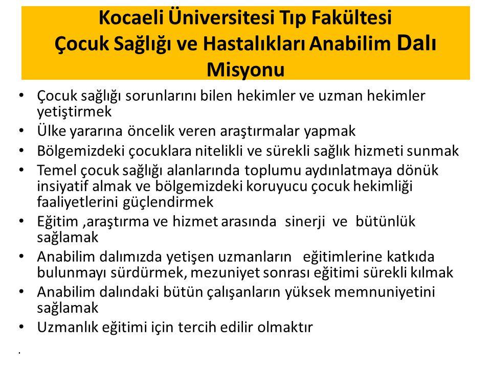 Kocaeli Üniversitesi Tıp Fakültesi Çocuk Sağlığı ve Hastalıkları Anabilim Dalı Misyonu