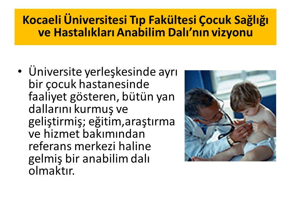 Kocaeli Üniversitesi Tıp Fakültesi Çocuk Sağlığı ve Hastalıkları Anabilim Dalı'nın vizyonu
