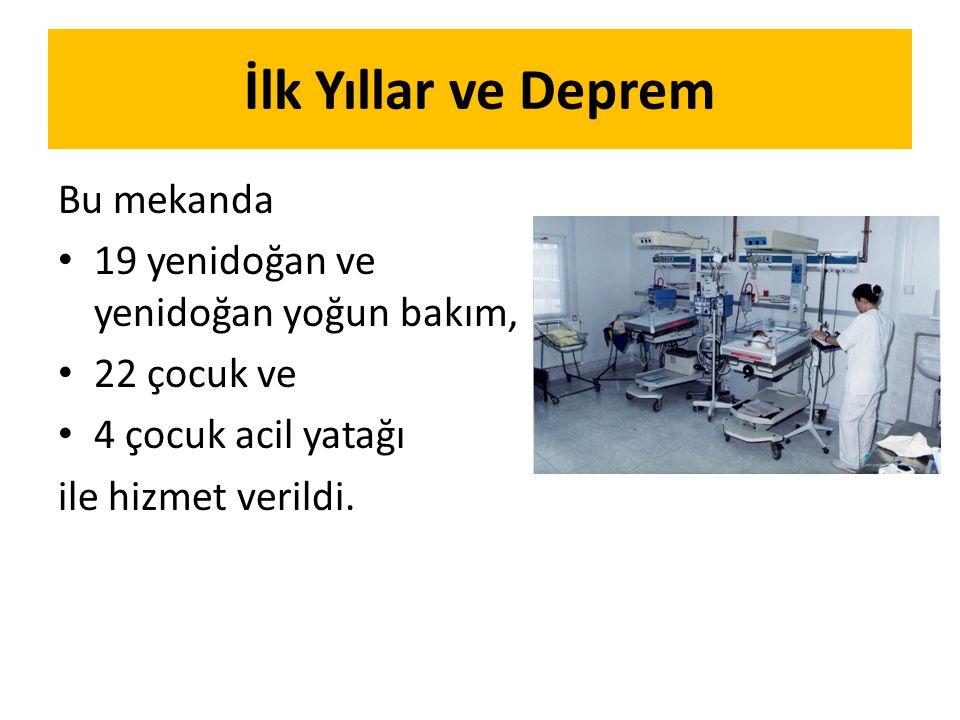 İlk Yıllar ve Deprem Bu mekanda 19 yenidoğan ve yenidoğan yoğun bakım,