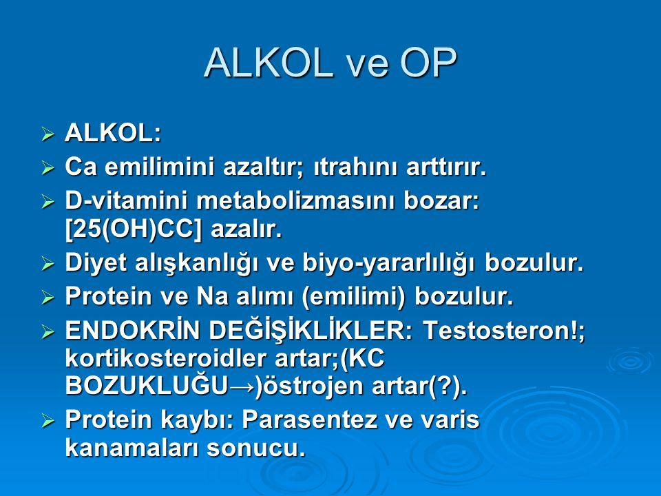 ALKOL ve OP ALKOL: Ca emilimini azaltır; ıtrahını arttırır.