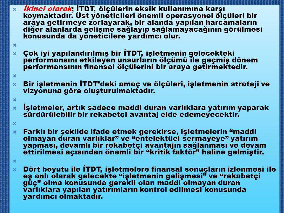 İkinci olarak; İTDT, ölçülerin eksik kullanımına karşı koymaktadır