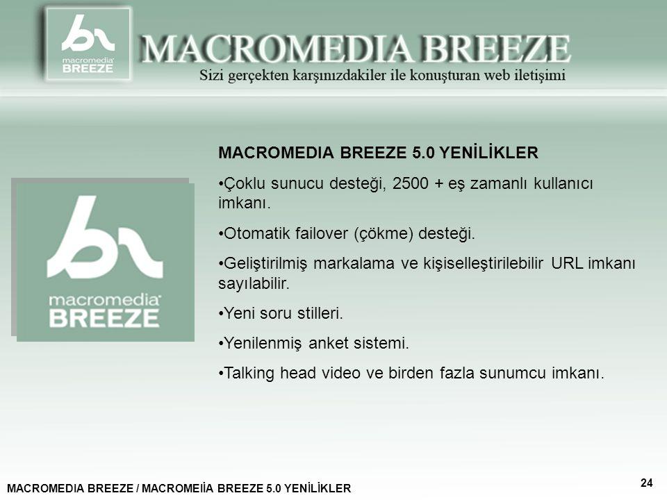 MACROMEDIA BREEZE 5.0 YENİLİKLER