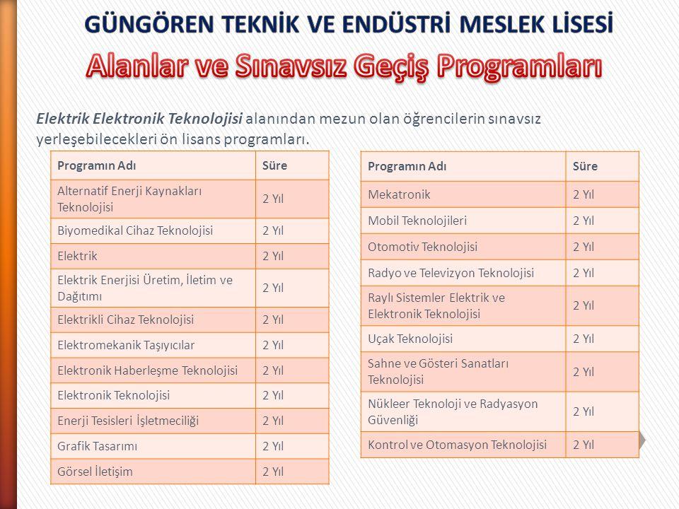 Alanlar ve Sınavsız Geçiş Programları