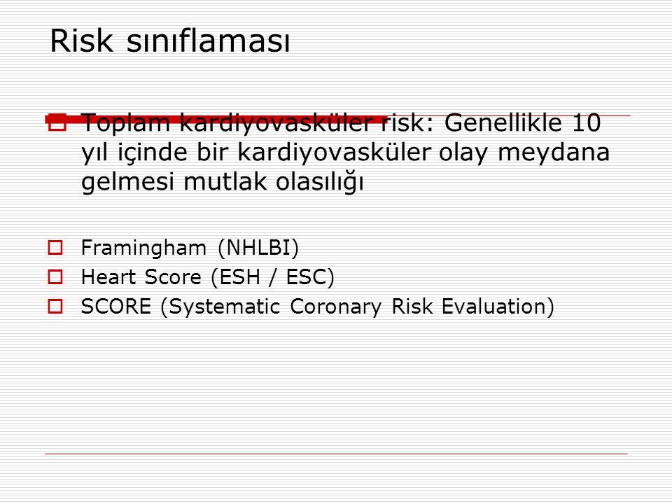 Risk sınıflaması Toplam kardiyovasküler risk: Genellikle 10 yıl içinde bir kardiyovasküler olay meydana gelmesi mutlak olasılığı.