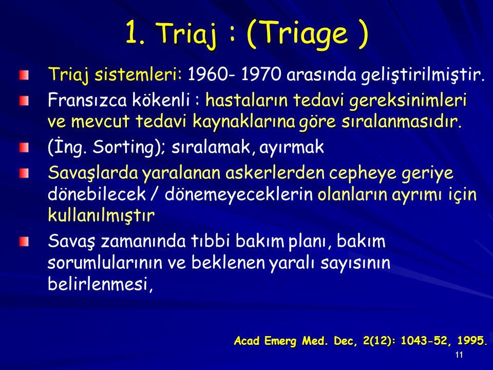 1. Triaj : (Triage ) Triaj sistemleri: 1960- 1970 arasında geliştirilmiştir.