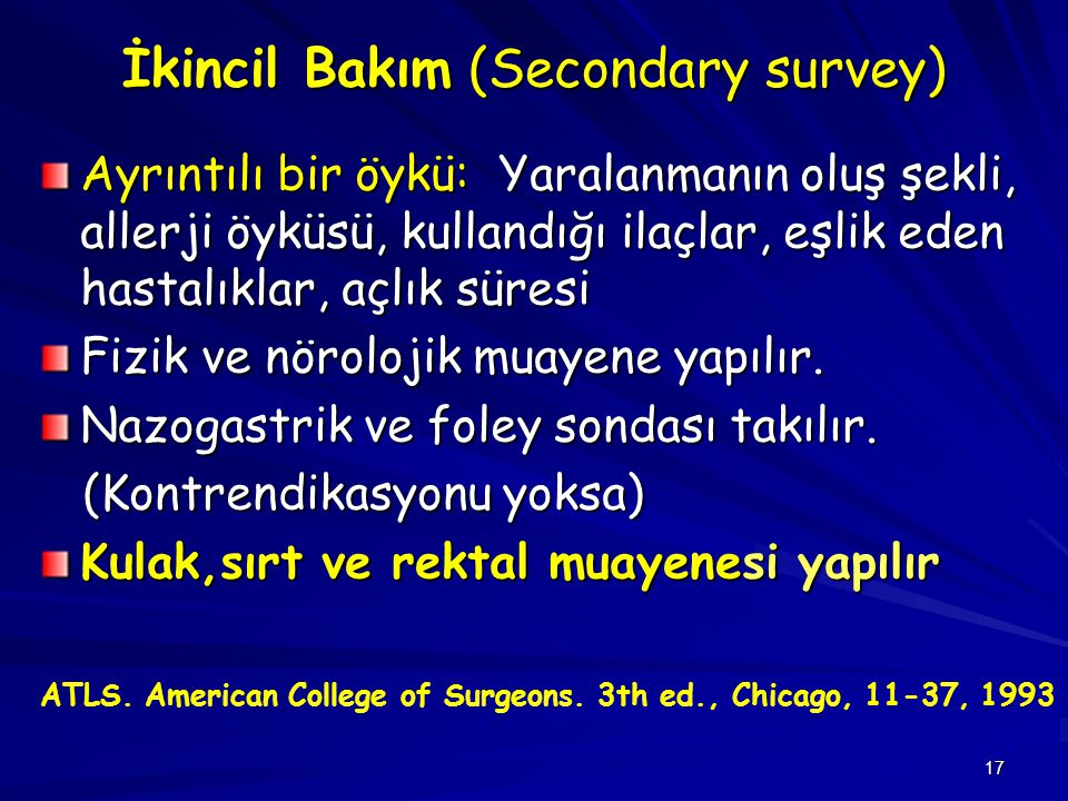 İkincil Bakım (Secondary survey)