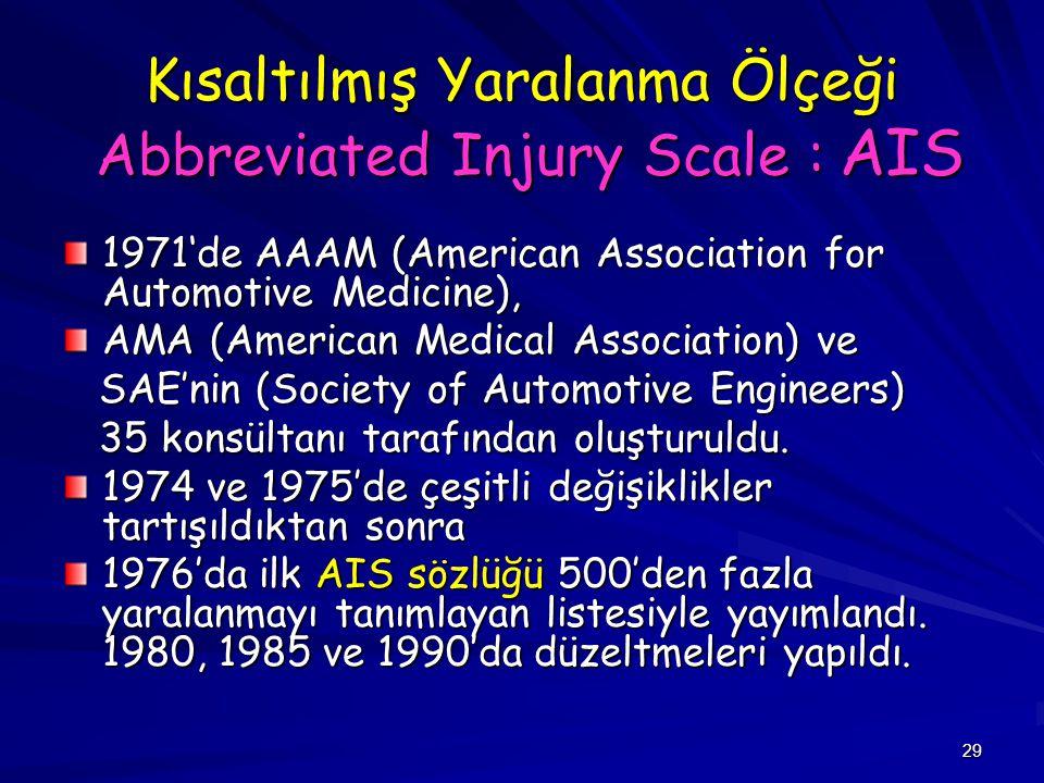 Kısaltılmış Yaralanma Ölçeği Abbreviated Injury Scale : AIS