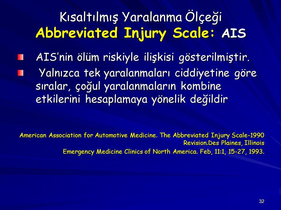 Kısaltılmış Yaralanma Ölçeği Abbreviated Injury Scale: AIS