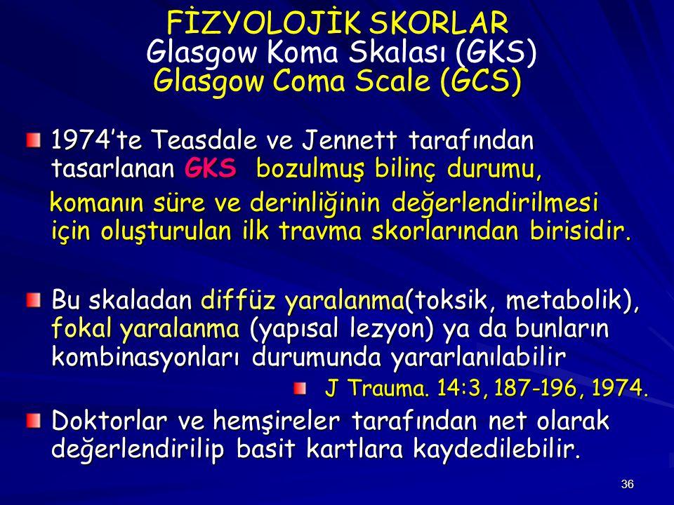 FİZYOLOJİK SKORLAR Glasgow Koma Skalası (GKS) Glasgow Coma Scale (GCS)