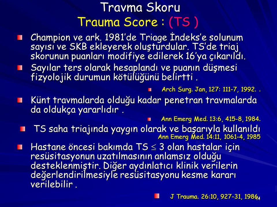 Travma Skoru Trauma Score : (TS )