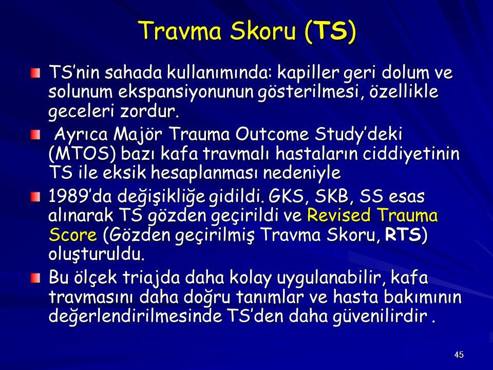 Travma Skoru (TS) TS'nin sahada kullanımında: kapiller geri dolum ve solunum ekspansiyonunun gösterilmesi, özellikle geceleri zordur.