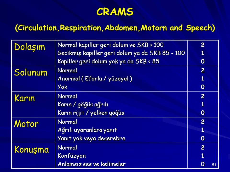 CRAMS (Circulation,Respiration,Abdomen,Motorn and Speech)
