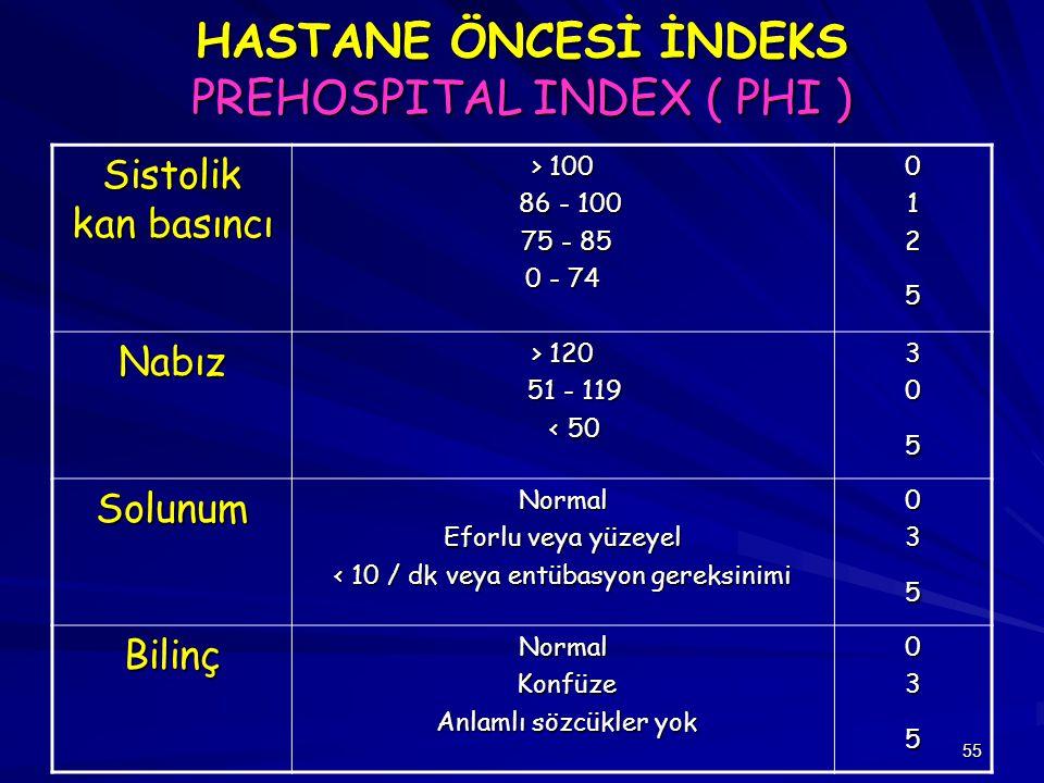 HASTANE ÖNCESİ İNDEKS PREHOSPITAL INDEX ( PHI )