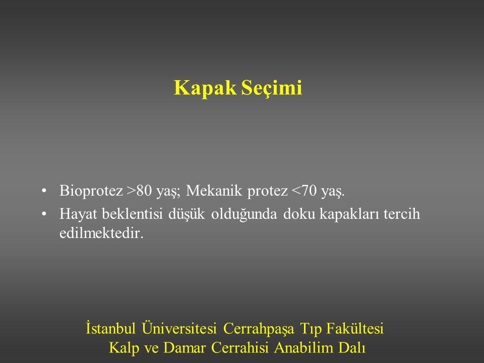 Kapak Seçimi Bioprotez >80 yaş; Mekanik protez <70 yaş.