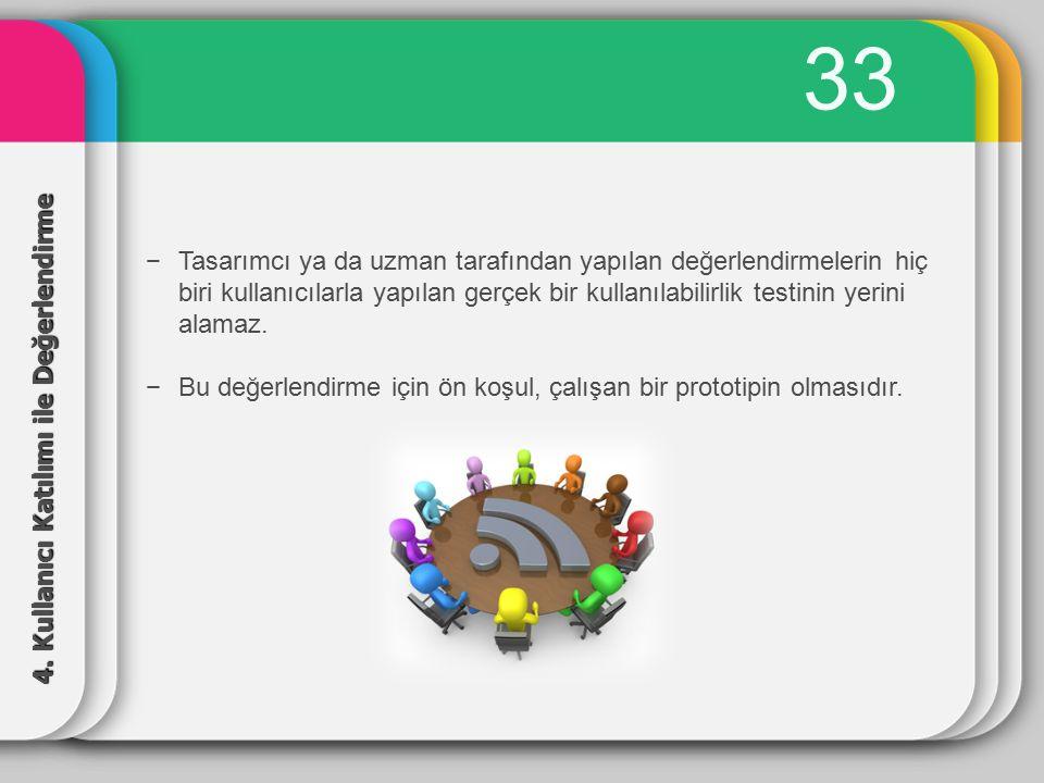 33 Tasarımcı ya da uzman tarafından yapılan değerlendirmelerin hiç biri kullanıcılarla yapılan gerçek bir kullanılabilirlik testinin yerini alamaz.