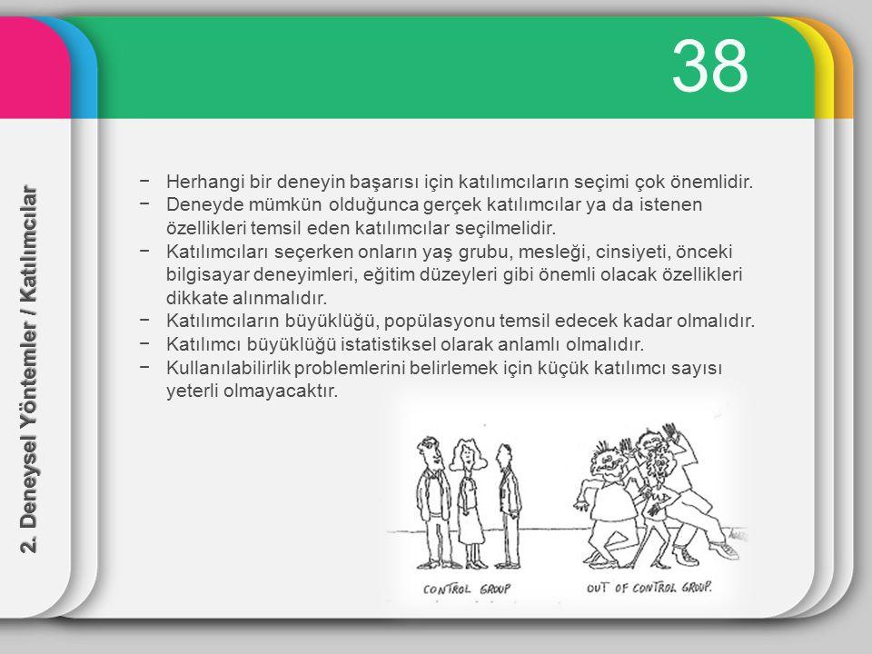 38 2. Deneysel Yöntemler / Katılımcılar