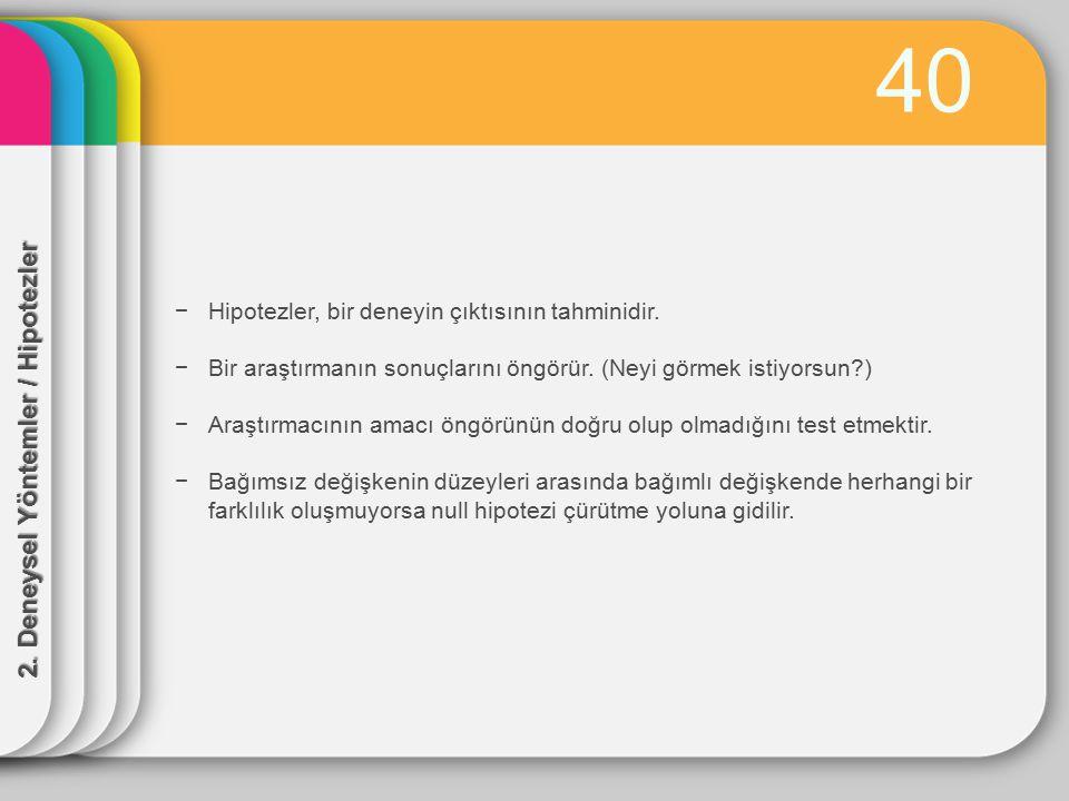 40 2. Deneysel Yöntemler / Hipotezler