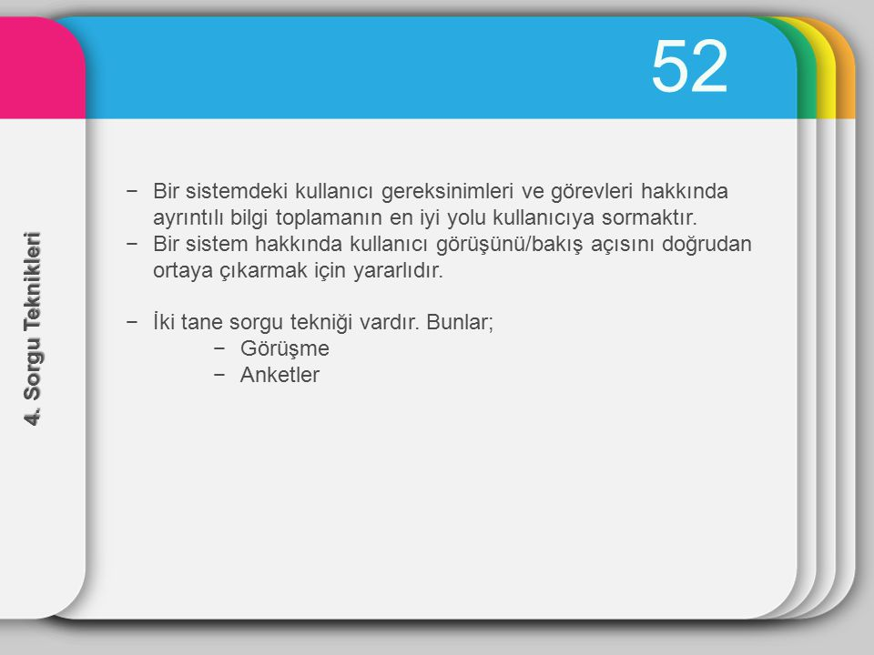 52 Bir sistemdeki kullanıcı gereksinimleri ve görevleri hakkında ayrıntılı bilgi toplamanın en iyi yolu kullanıcıya sormaktır.