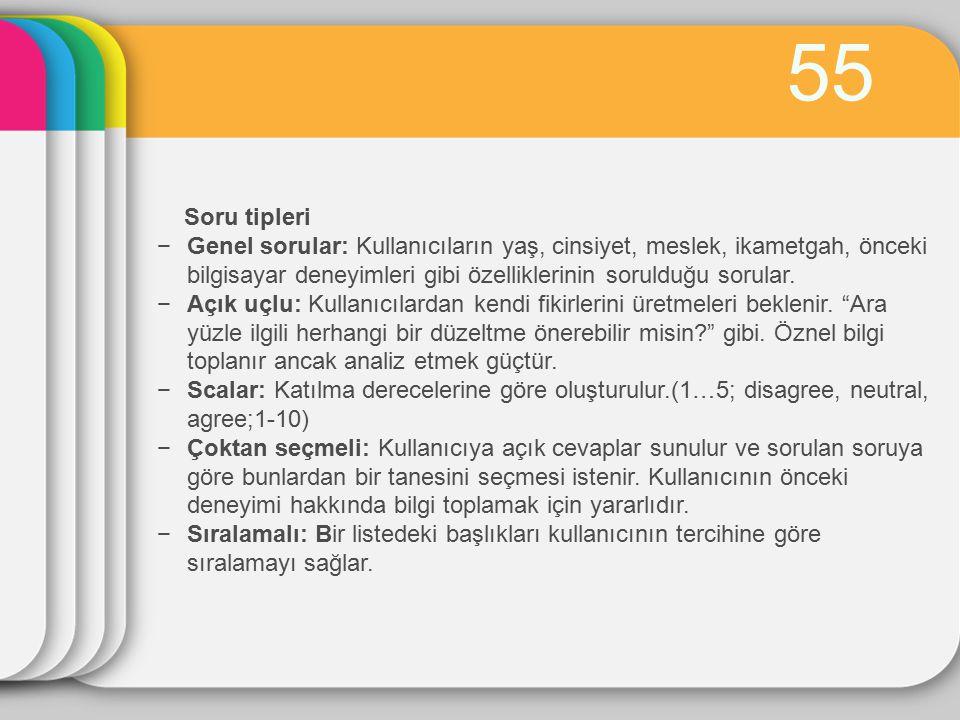 55 Soru tipleri.