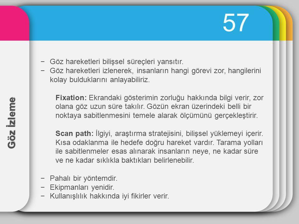 57 Göz İzleme Göz hareketleri bilişsel süreçleri yansıtır.