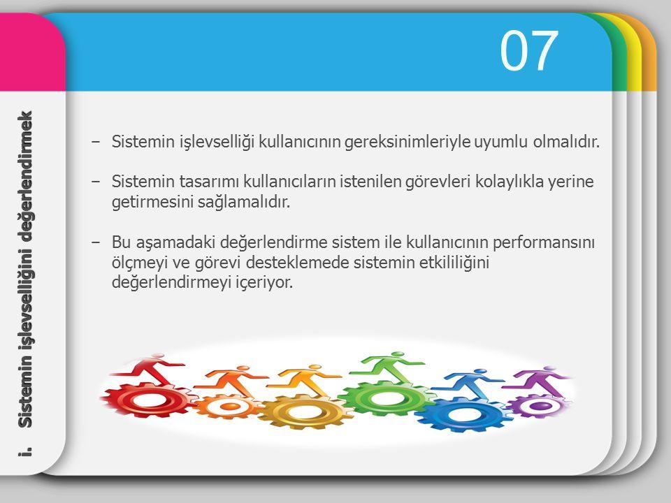 07 Sistemin işlevselliği kullanıcının gereksinimleriyle uyumlu olmalıdır.