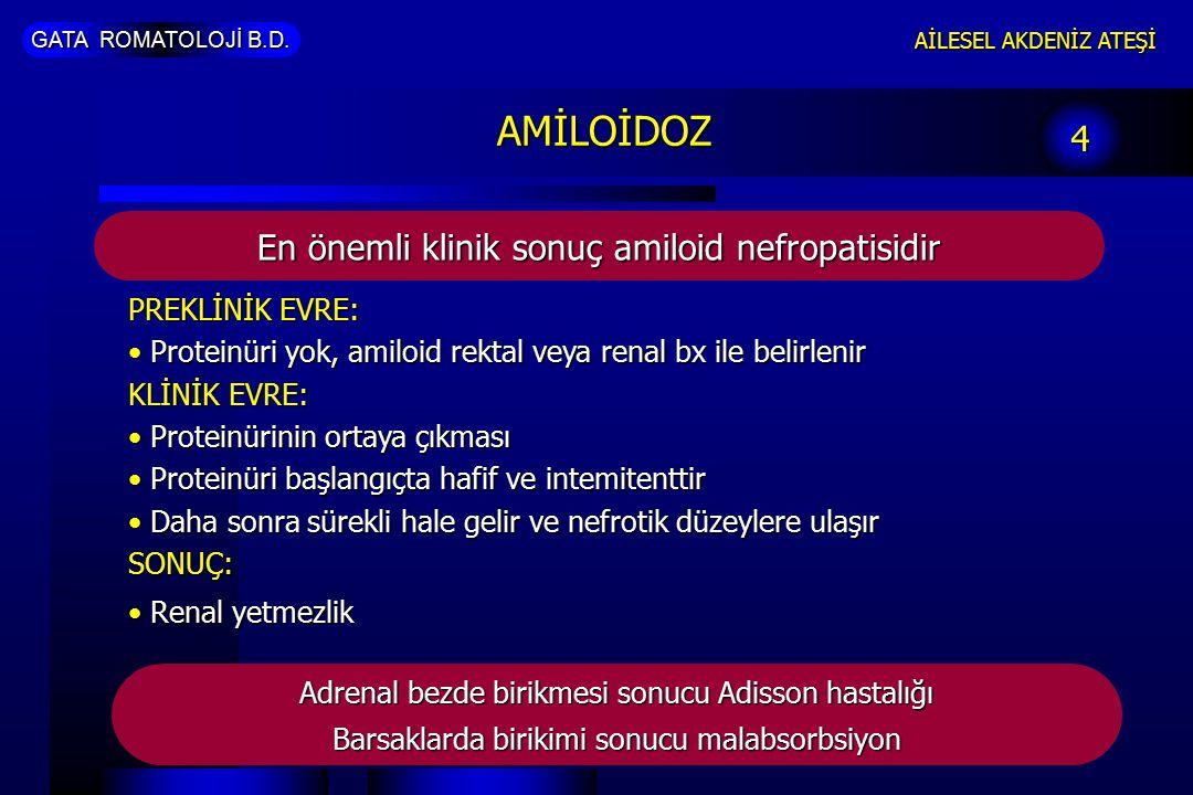 AMİLOİDOZ 4 En önemli klinik sonuç amiloid nefropatisidir