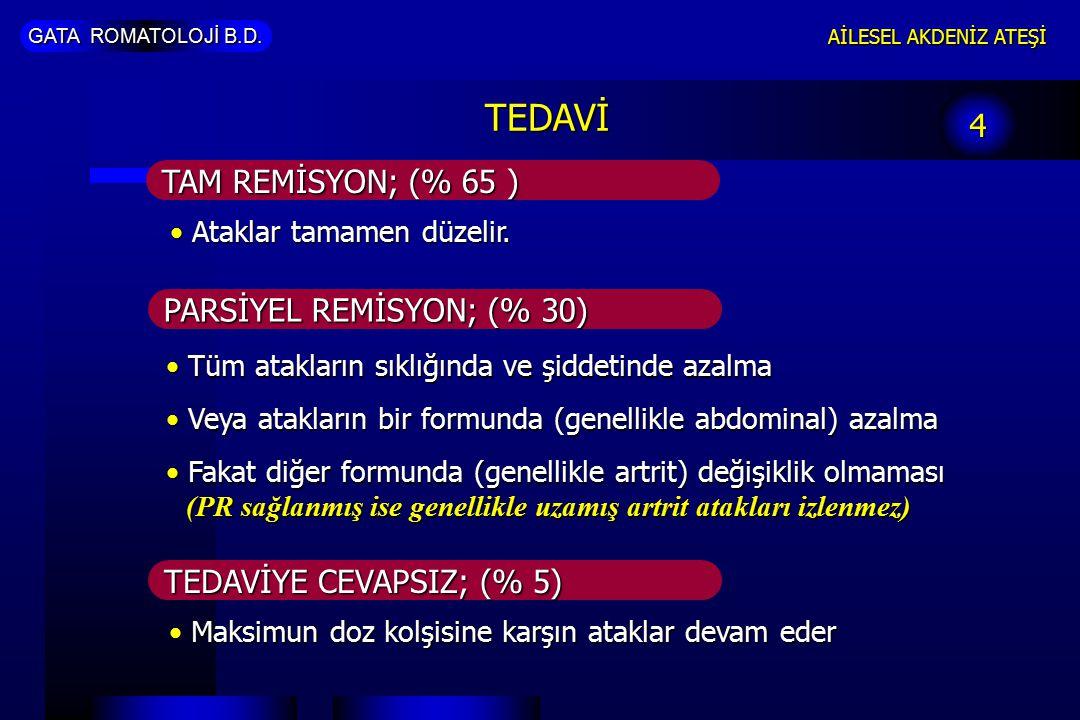 TEDAVİ 4 TAM REMİSYON; (% 65 ) PARSİYEL REMİSYON; (% 30)