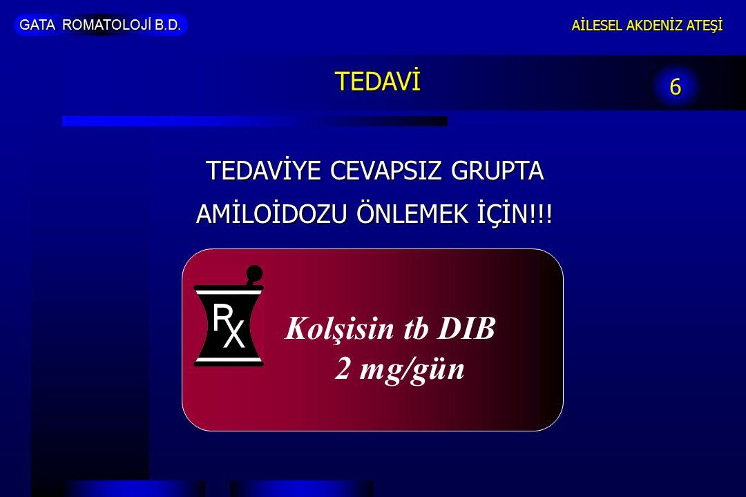 Kolşisin tb DIB 2 mg/gün TEDAVİ TEDAVİYE CEVAPSIZ GRUPTA