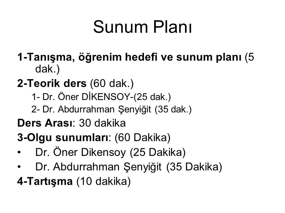 Sunum Planı 1-Tanışma, öğrenim hedefi ve sunum planı (5 dak.)