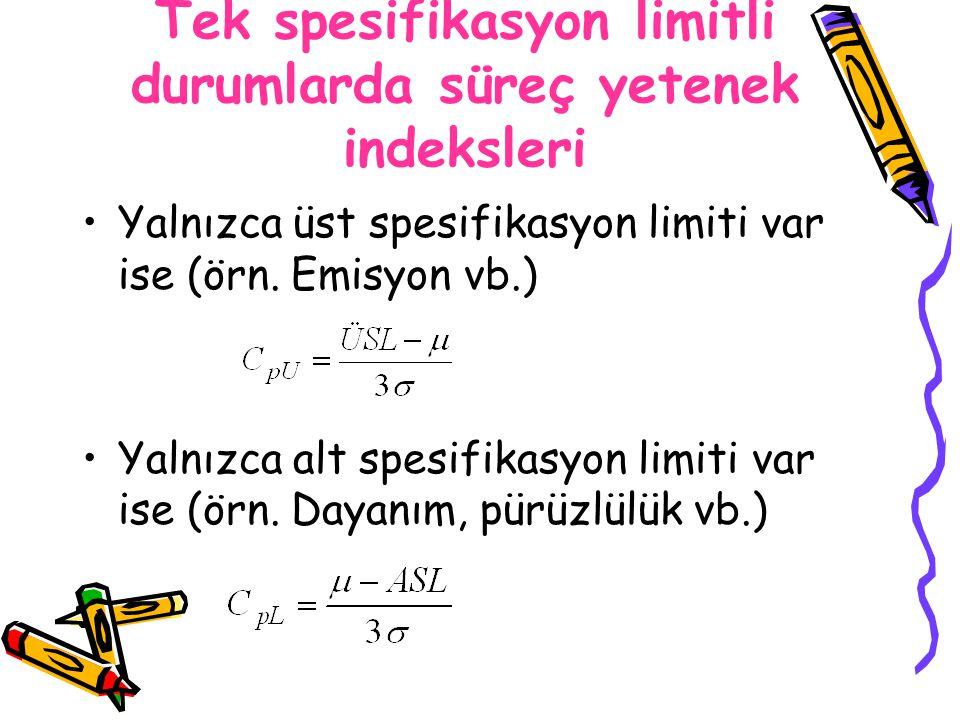 Tek spesifikasyon limitli durumlarda süreç yetenek indeksleri
