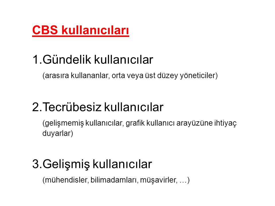 CBS kullanıcıları Gündelik kullanıcılar. (arasıra kullananlar, orta veya üst düzey yöneticiler) Tecrübesiz kullanıcılar.