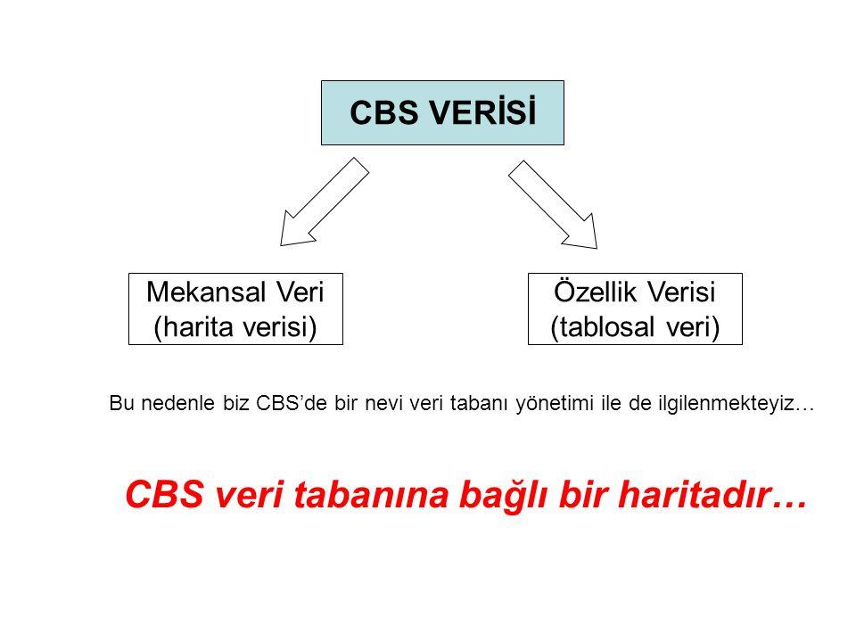 CBS veri tabanına bağlı bir haritadır…