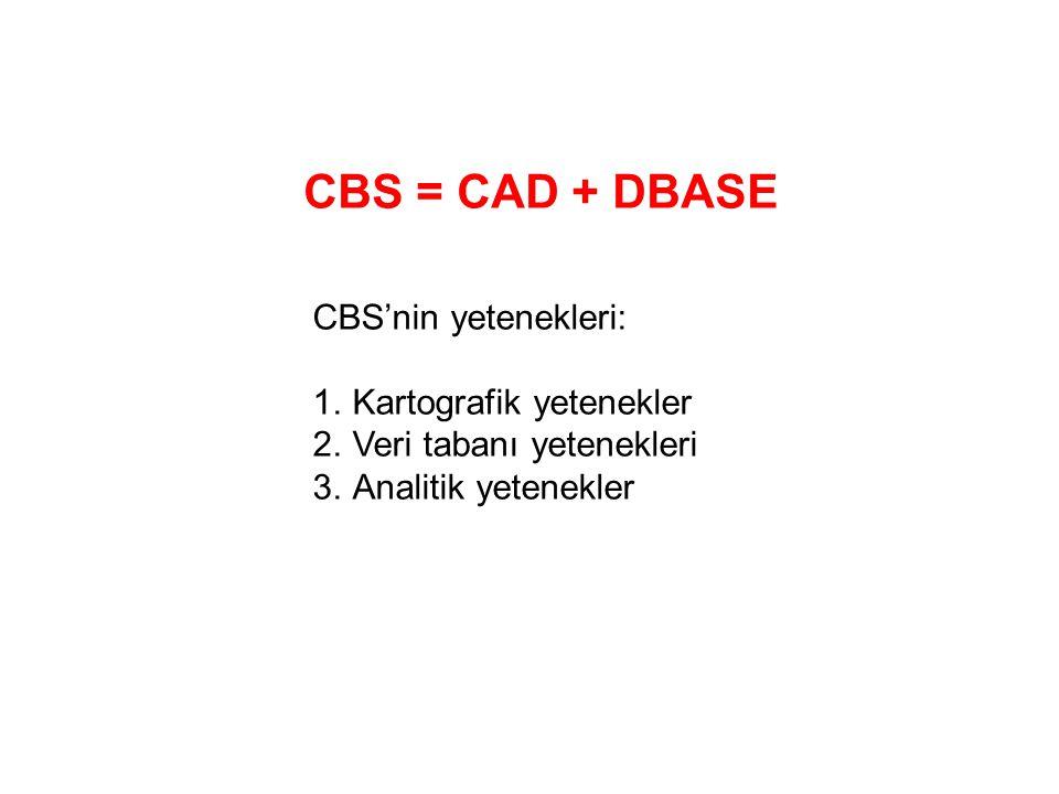 CBS = CAD + DBASE CBS'nin yetenekleri: Kartografik yetenekler