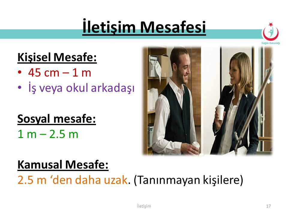 İletişim Mesafesi Kişisel Mesafe: 45 cm – 1 m İş veya okul arkadaşı