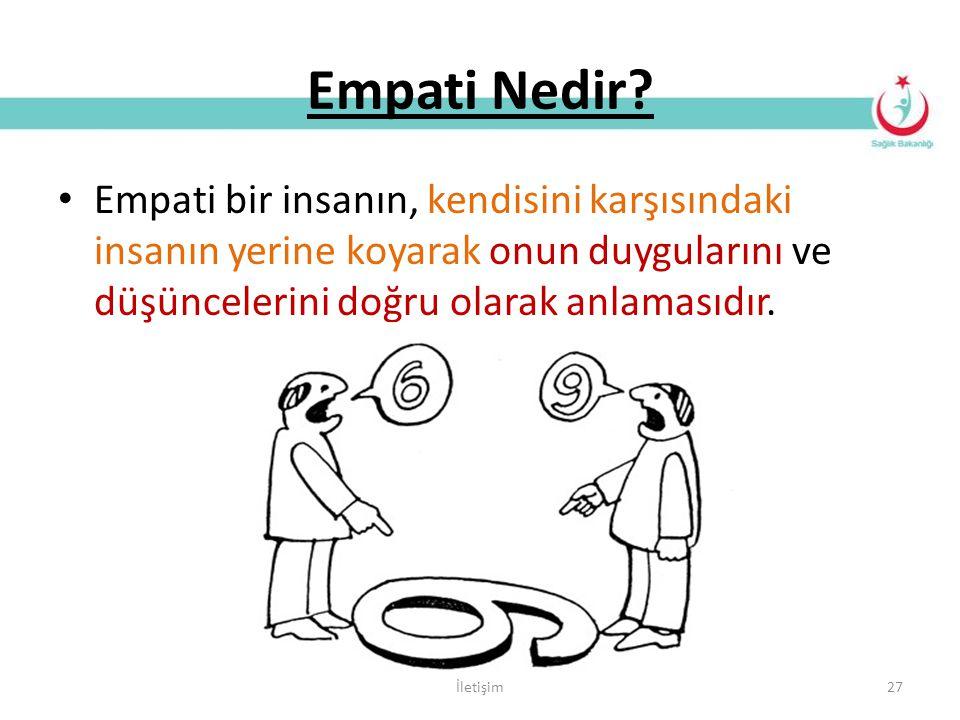 Empati Nedir Empati bir insanın, kendisini karşısındaki insanın yerine koyarak onun duygularını ve düşüncelerini doğru olarak anlamasıdır.