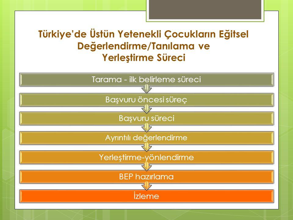 Türkiye'de Üstün Yetenekli Çocukların Eğitsel Değerlendirme/Tanılama ve Yerleştirme Süreci