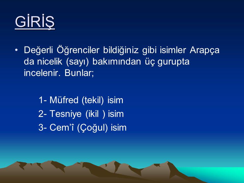 GİRİŞ Değerli Öğrenciler bildiğiniz gibi isimler Arapça da nicelik (sayı) bakımından üç gurupta incelenir. Bunlar;