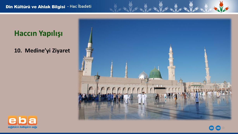 - Hac İbadeti Haccın Yapılışı 10. Medine'yi Ziyaret