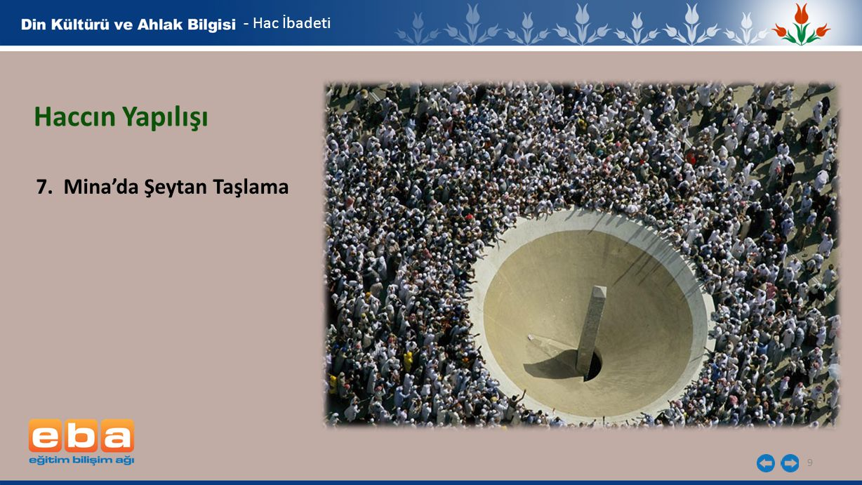 - Hac İbadeti Haccın Yapılışı 7. Mina'da Şeytan Taşlama