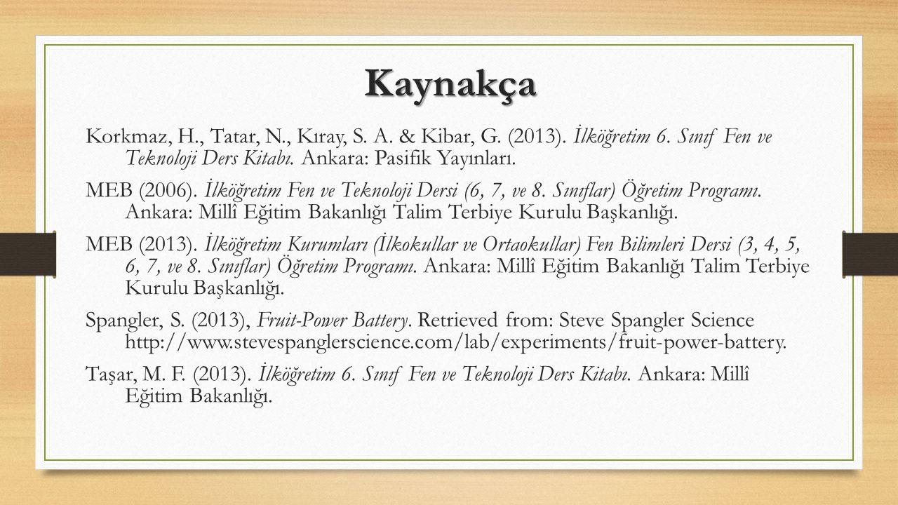 Kaynakça Korkmaz, H., Tatar, N., Kıray, S. A. & Kibar, G. (2013). İlköğretim 6. Sınıf Fen ve Teknoloji Ders Kitabı. Ankara: Pasifik Yayınları.