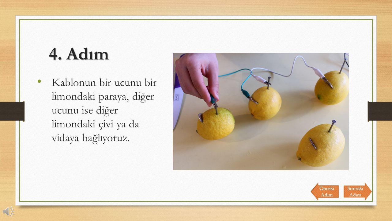 4. Adım Kablonun bir ucunu bir limondaki paraya, diğer ucunu ise diğer limondaki çivi ya da vidaya bağlıyoruz.