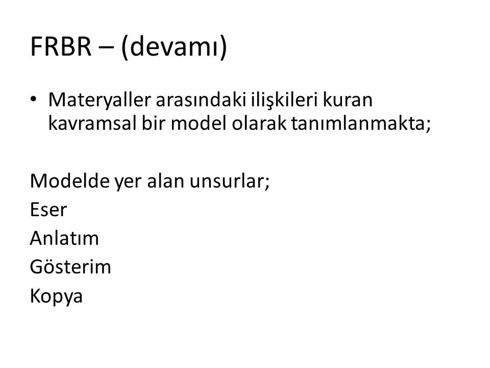 FRBR – (devamı) Materyaller arasındaki ilişkileri kuran kavramsal bir model olarak tanımlanmakta; Modelde yer alan unsurlar;