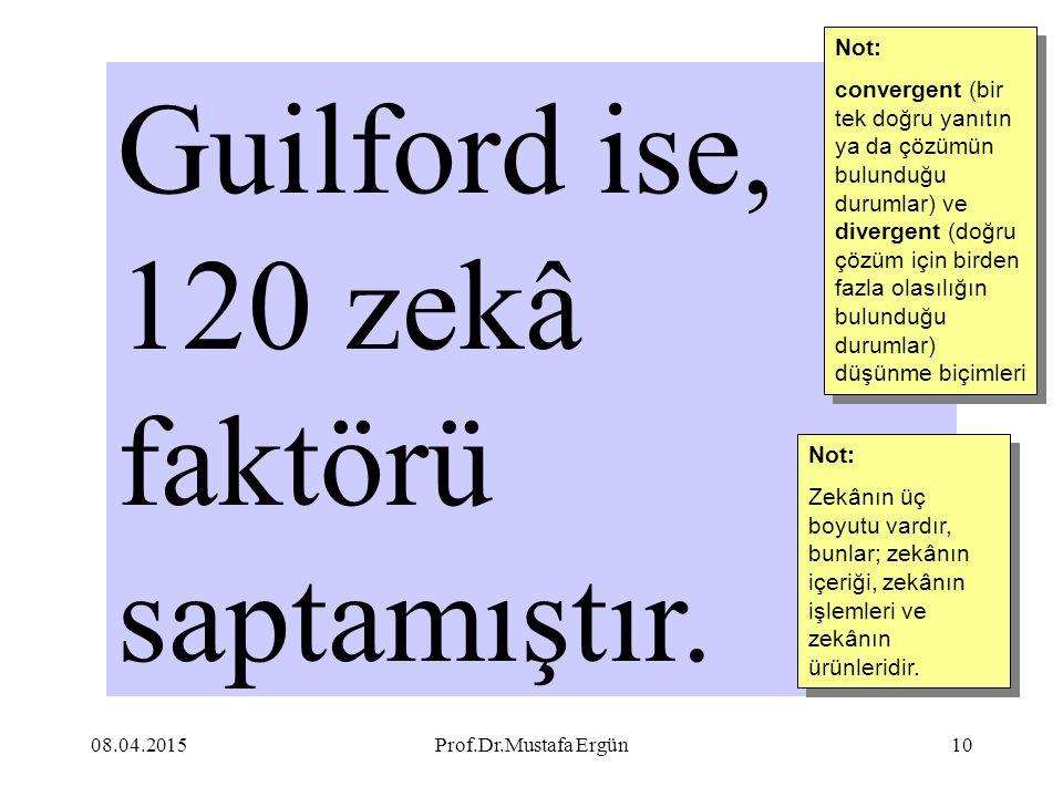 Guilford ise, 120 zekâ faktörü saptamıştır.
