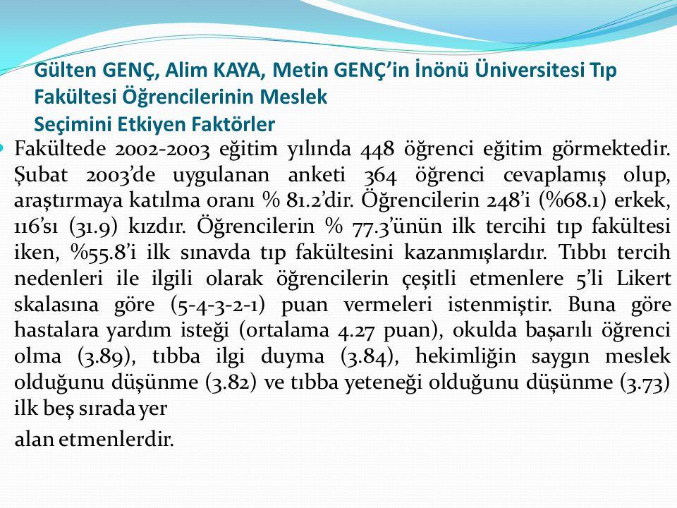 Gülten GENÇ, Alim KAYA, Metin GENÇ'in İnönü Üniversitesi Tıp Fakültesi Öğrencilerinin Meslek Seçimini Etkiyen Faktörler