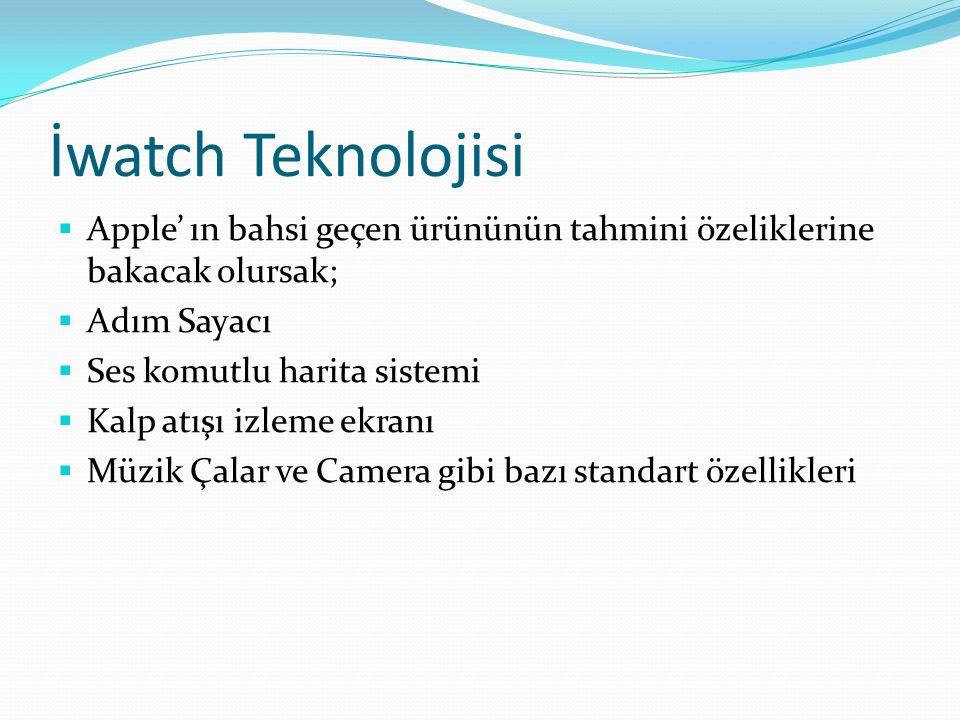 İwatch Teknolojisi Apple' ın bahsi geçen ürününün tahmini özeliklerine bakacak olursak; Adım Sayacı.