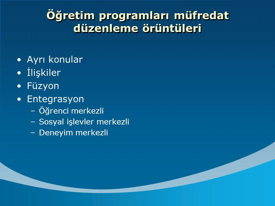 Öğretim programları müfredat düzenleme örüntüleri