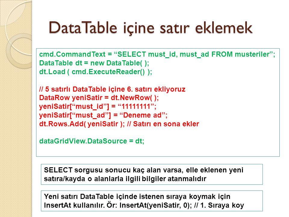 DataTable içine satır eklemek